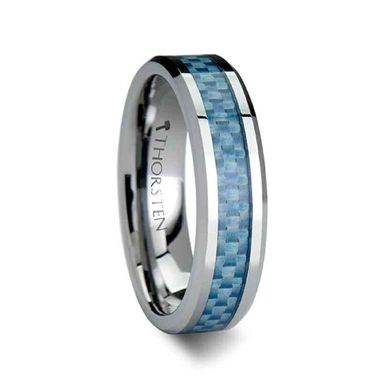 Custom Made Augustus Tungsten Carbide Ring With Blue Carbon Fiber Inlay - 4mm - 10mm