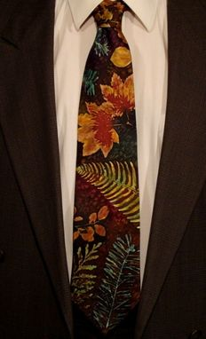 Custom Made Botanical Leaf Silk Tie