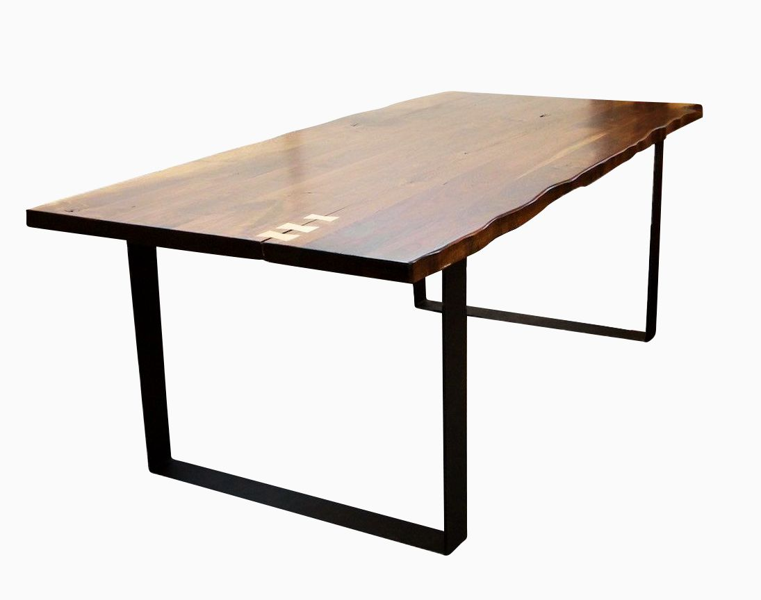 Buy a custom made live edge walnut dining table with flat for Restaurant tables