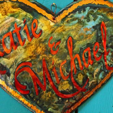 Custom Made Personalized Copper Heart Plaque