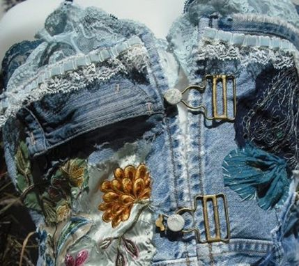 Custom Made Vintage Denim And Lace Camisole Bustier Vest
