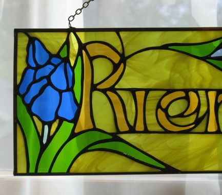 Custom Made Stained Glass Name Window