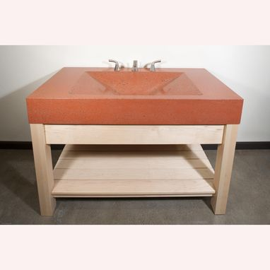 Custom Made Concrete Vanity With Integrated Pyramid Sink And Maple Stand