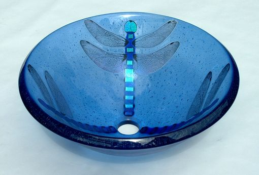 Custom Made Dragonfly Vessel Sink On Light Blue Glass