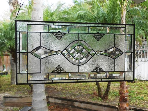 Custom Made Beveled Stained Glass Panel, Traditional Clear Textured Transom