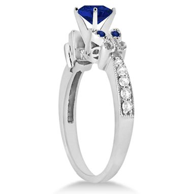 Custom Made 1.50ct Butterfly Blue Sapphire & Diamond Bridal Set 14k White Gold