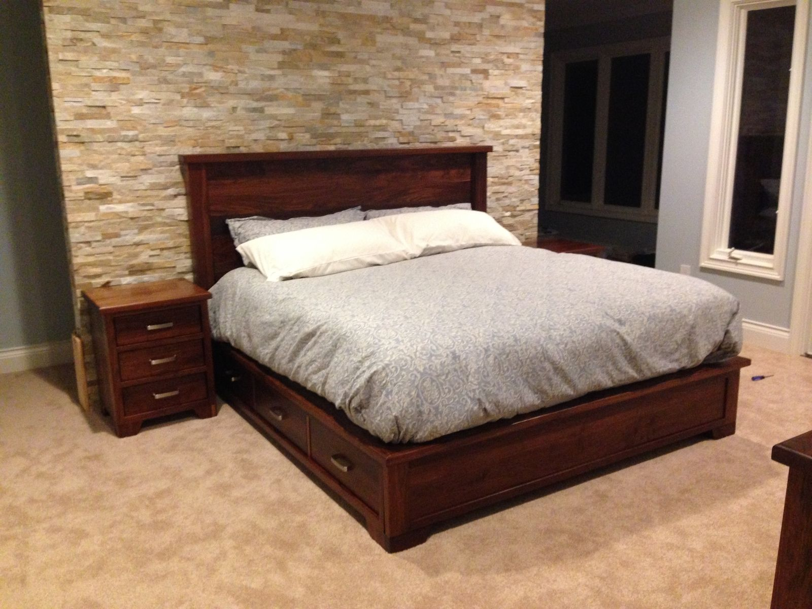 Hand Crafted Walnut Bedroom Set by The Plane Edge, LLC
