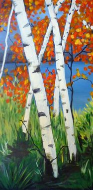 "Custom Made Original Acrylic Painting ""Aspens On The Rogue River"""