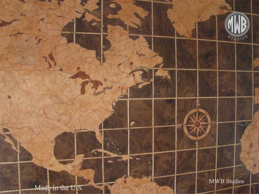 Custom Made World Map Of Walnut And Madrone Burl.