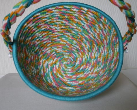 Custom Made Cloth Basket W/Handle - Coiled - Wrapped Clothesline - Small Round -Turquoise/Pink/Blue