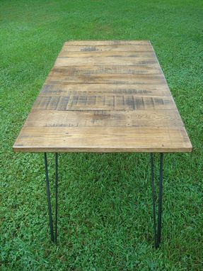 Custom Made Reclaimed Wood Table With Hairpin Legs