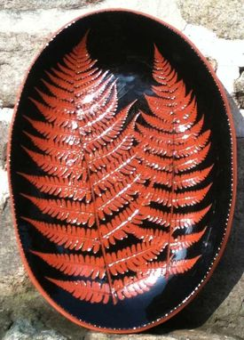 Custom Made Ceramic Plate, Black With Red Fern