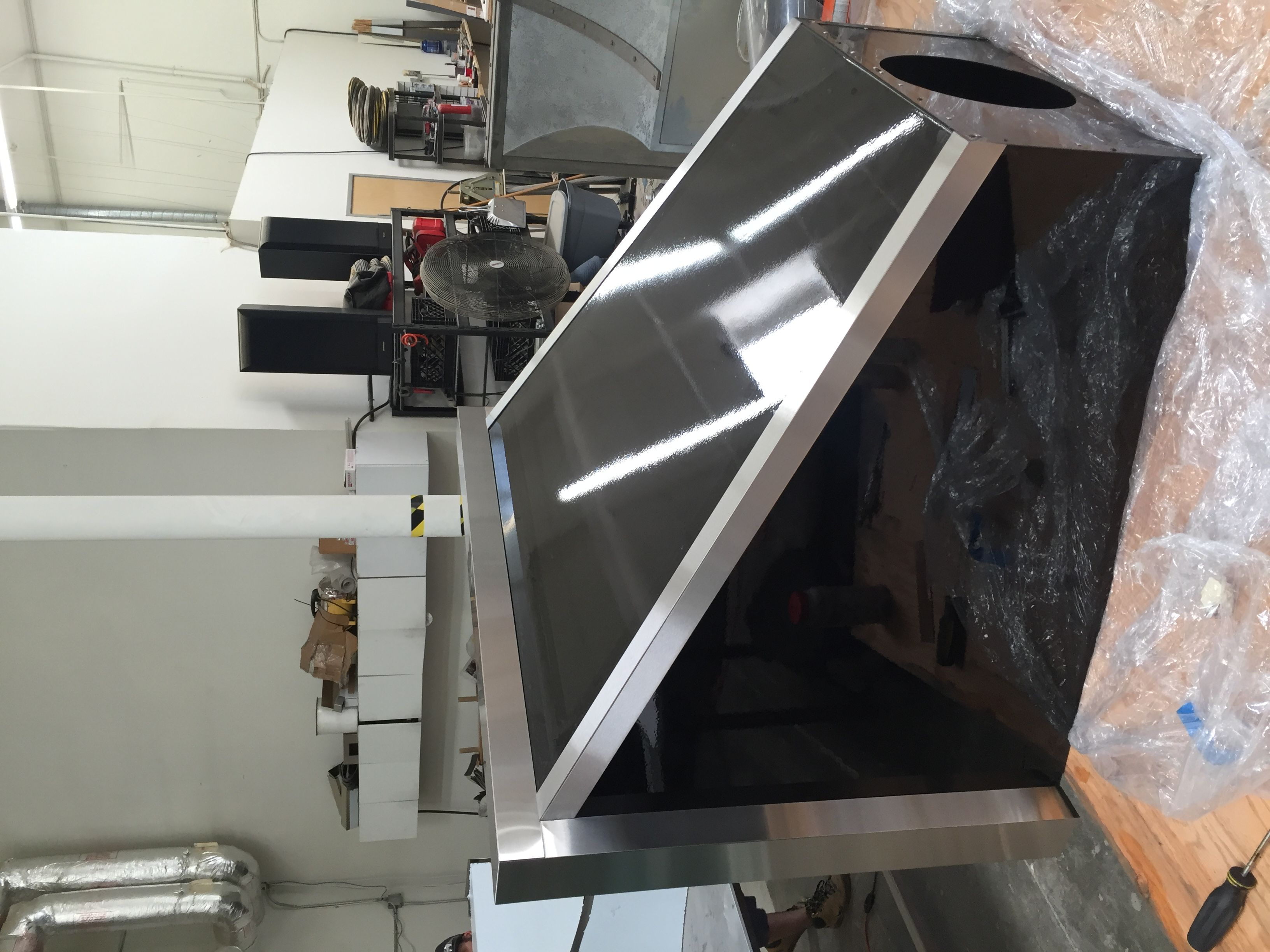 Custom Made 42 Powder Finished Black Range Hood With Stainless Steel Straps
