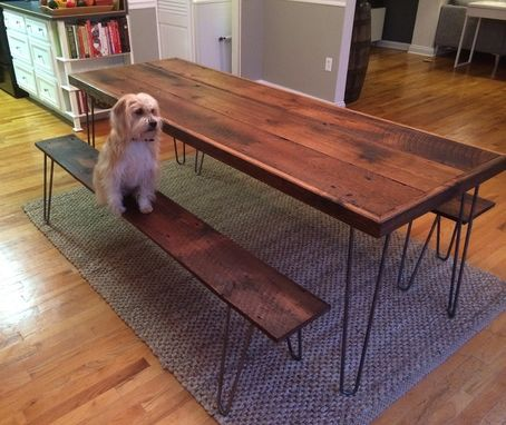 Custom Made Dining Table And Benches Reclaimed  White Oak With Hairpin Legs