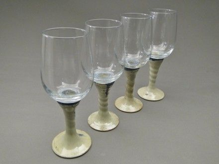 Custom Made Set Of 4 Wine Glasses, Nuka Glaze