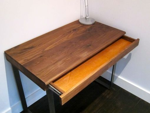 Custom Made Writers Block Desk - Walnut Desk With Inset Drawer