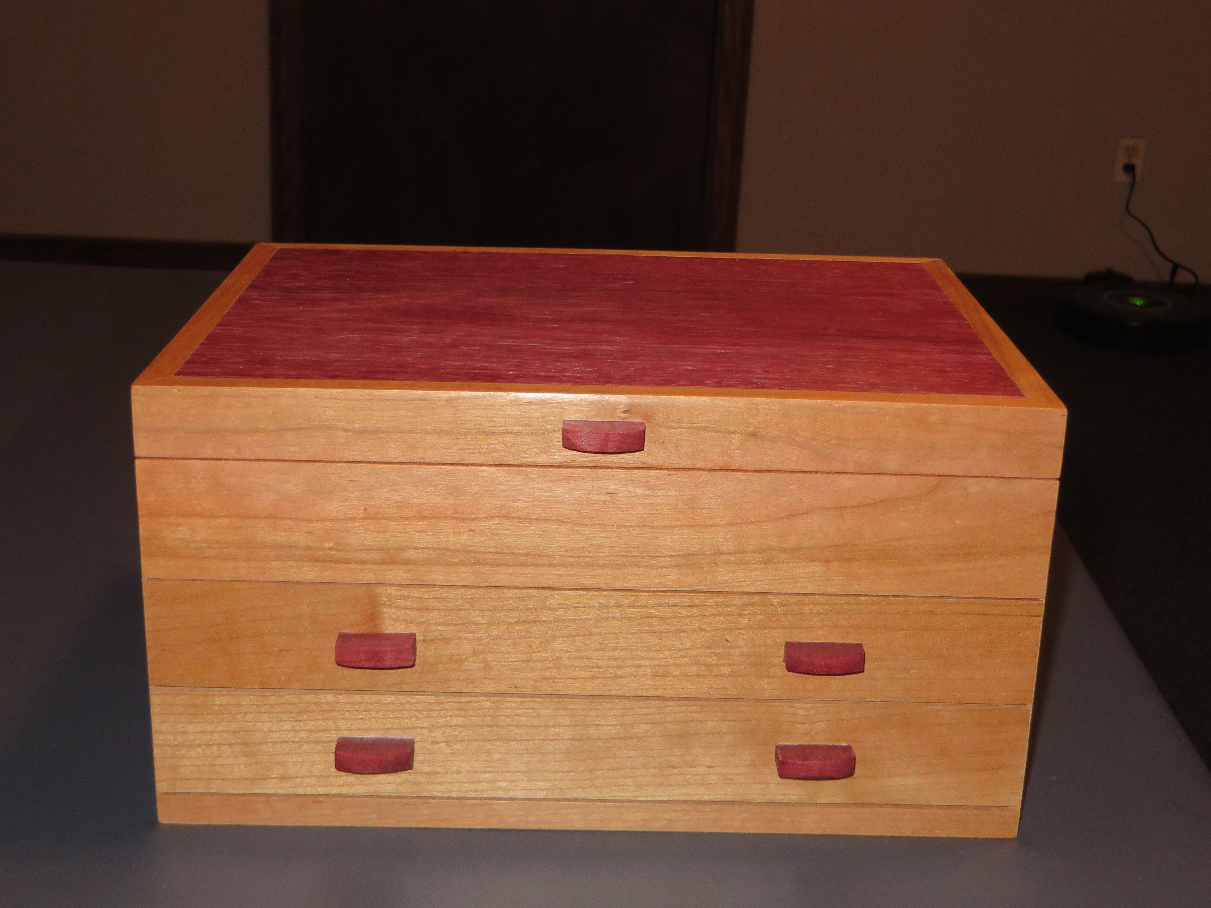 Handcrafted wood jewelry boxes - Cherry And Purpleheart 2 Drawer Jewelry Box