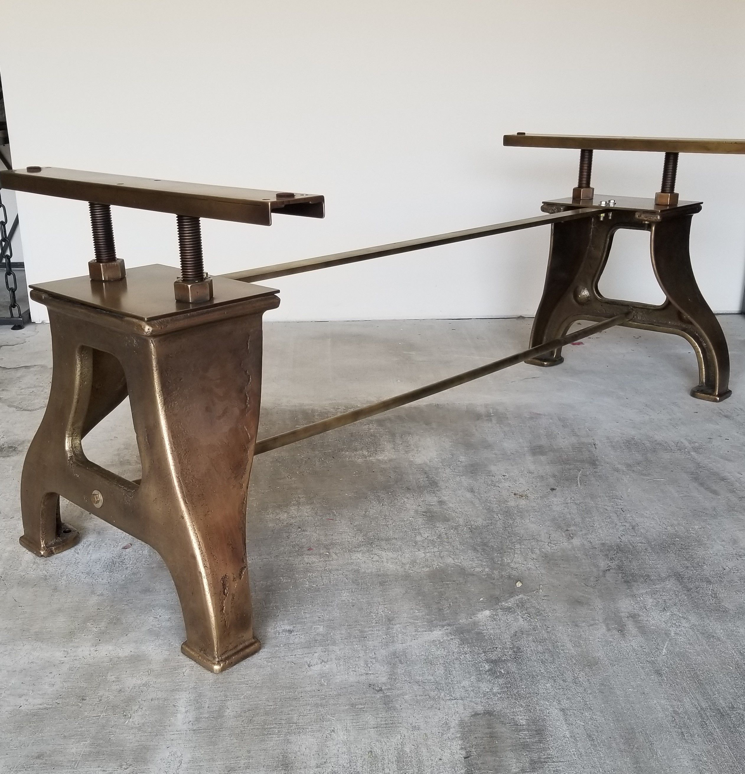 Antique Br Plated Cast Iron Table