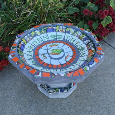 Custom Made Currently Sold Out -Mosaic Concrete Bird Bath - Small Size