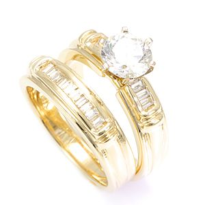 Custom Made Baguette Diamond Ring And Matching Band In 14k Yellow Gold, Diamond Wedding Set/Rings