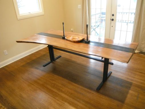 Custom Made Sycamore And Steel Dinning Table