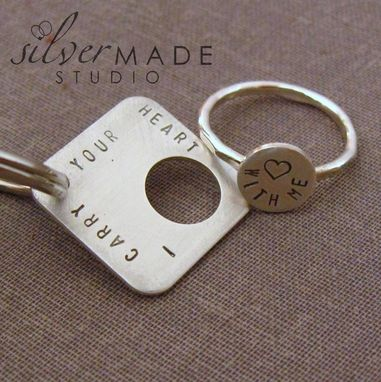 Custom Made Intertwine. Square Sterling Silver Ring And Keychain