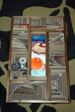 Custom Made Acrylic On Panel With Recycled/Reused Material Frame