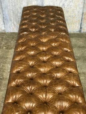 Buy Hand Made Distressed Leather Tufted Bench With