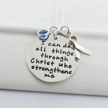 Custom Made Awareness Strength Necklace | I Can Do All Things Through Christ