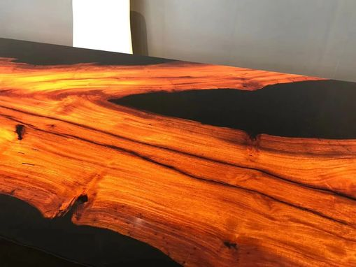 Custom Made Black Resin And Red Wood Table