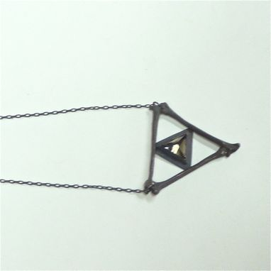 Custom Made Oxidized Sterling Silver Necklace Smokey Quartz Stone Triangle Bones