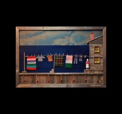 Custom Made 'Laundry Day' Wooden Wall Art