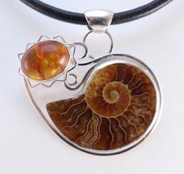 Custom Made Ammonite Fossil And Amber Necklace