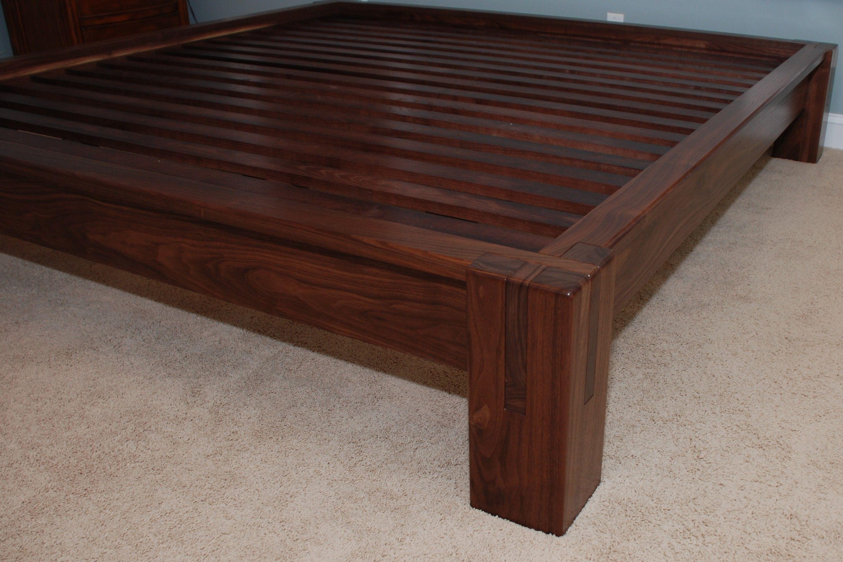 Hand Crafted Slatted Platform Bed Walnut By Belak