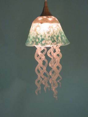 Custom Made Jellyfish Pendant Light - Turquoise White Jellyfish - Blown Glass Lighting - Art Glass Chandelier