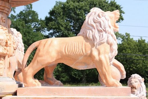 Custom Made Custom Made Large Marble Garden Fountain Featuring Lion Statues