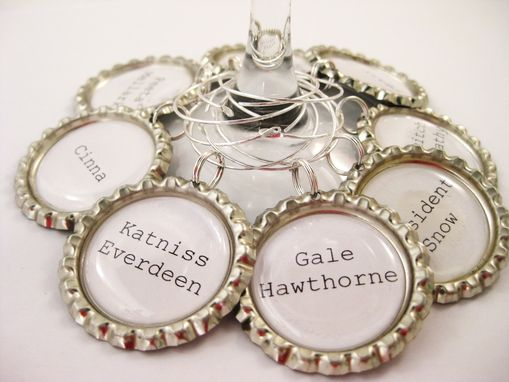 Custom Made Upcycled Bottle Caps Hunger Games Wine Charms In Set Of 8