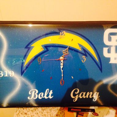 Custom Made Custom San Diego Chargers Wooden Clock