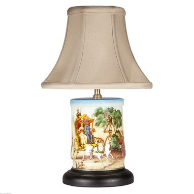 Custom Made Vintage Park Scene Caddy Upcycled Lamp
