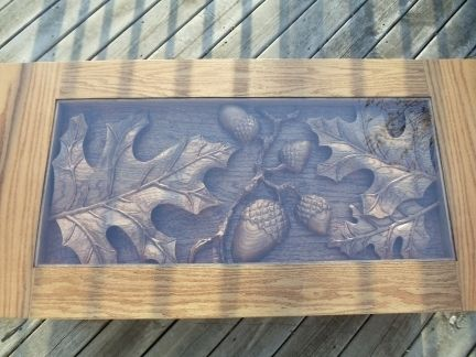 Custom Made Oak Coffee Table, Oak Leaf & Acorn Scene, Hand Carved By Scott, Lazy River Studio