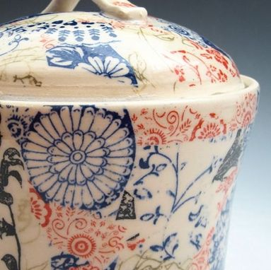 Custom Made Stoneware Canister With Multi-Colored Patterns