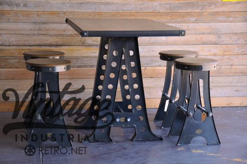 Custom Made Vintage Industrial A Frame Bar Stool/Drafting Chair (Set Of 4)