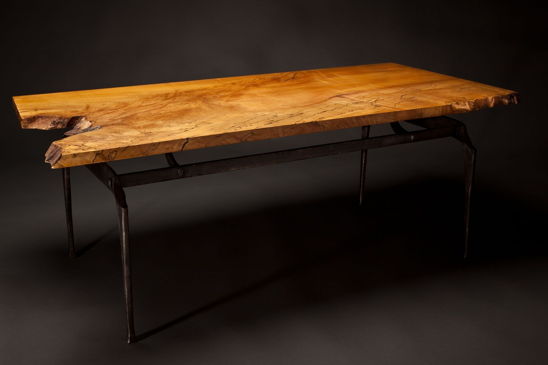 Hand Made Forged Steel And Spalted Maple Coffee Table by Rising