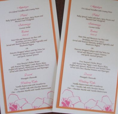 Custom Made Custom Wedding Reception Items- 1 Escort Card, 1 Table Numbers, 1 Menu Your Quantity And Style