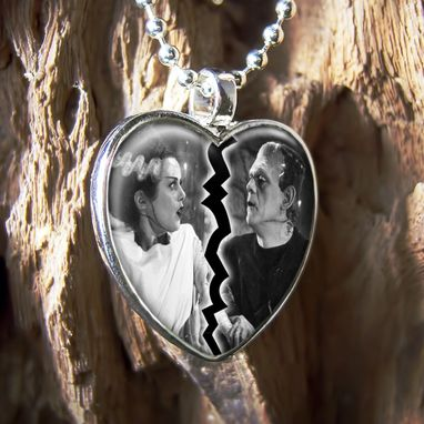 Custom Made Frankenste​In & Bride Horror Sterling Silver Heart Necklace 93-Shn