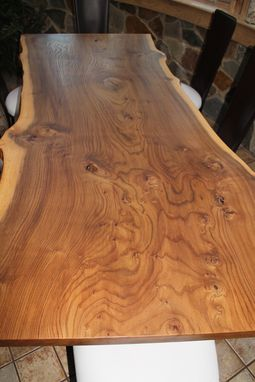 Custom Made Live Edge English Elm Slab Dining Table