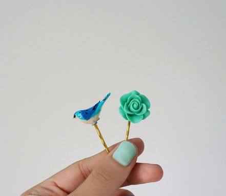 Custom Made Resin Hair Pins In Blue And Teal