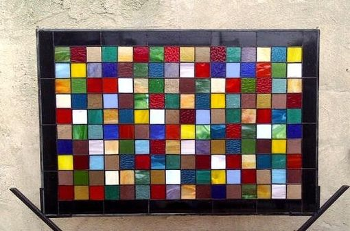 "Custom Made Stained Glass Window Panel / ""Patch Work Quilt 2"" (W-19)"