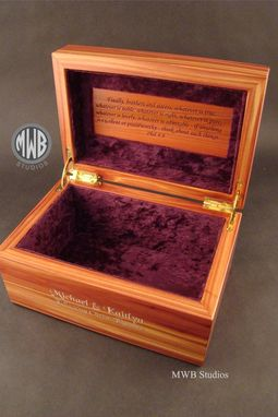 Custom Made Cedar Box With Engraving, Inlay And Liner.