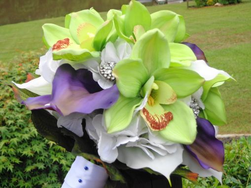 Custom Made Lily's Love - Orchid And Real-Touch Calla Lily Wedding Bouquet